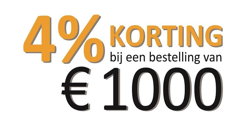 4% Korting bij een besteding van 1000 euro