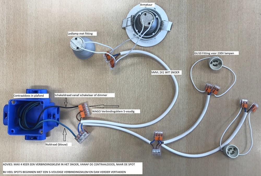 Aansluiten LED inbouwspot